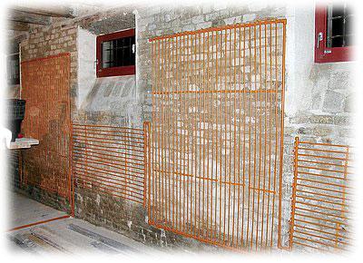 Stěnové vytápění vedené v trubkách